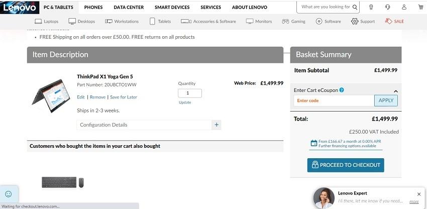 using your Lenovo discount code