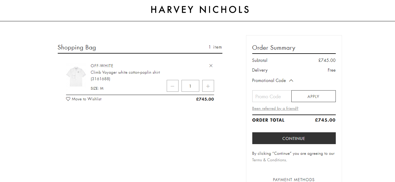 harvey nichols discount codes