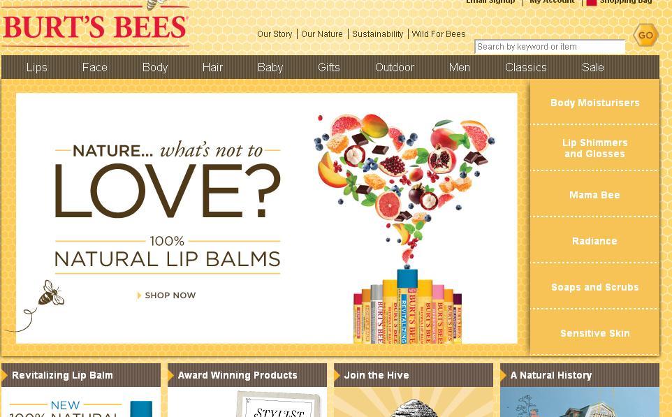 Burt's Bees homepage