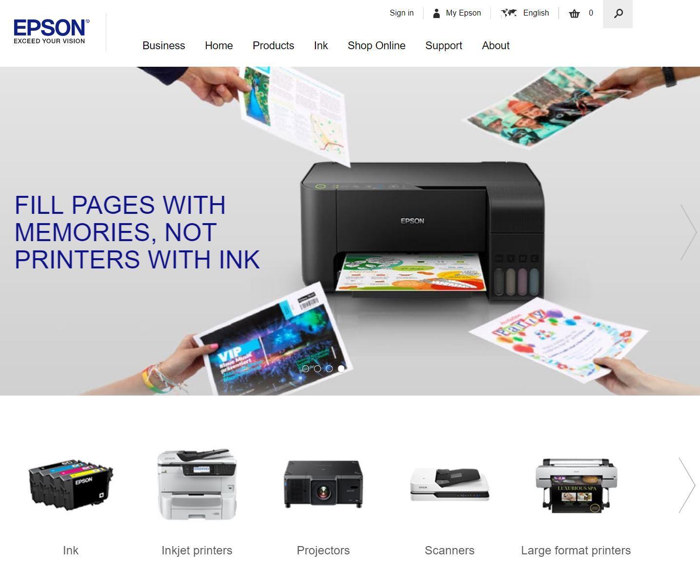 Epson homepage