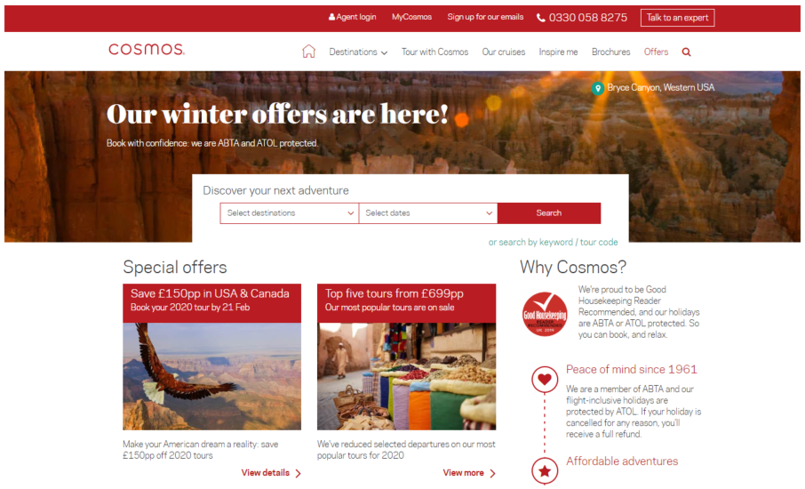 Cosmos Holidays homepage
