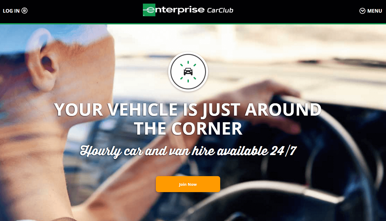 Enterprise Car Club voucher codes homepage image