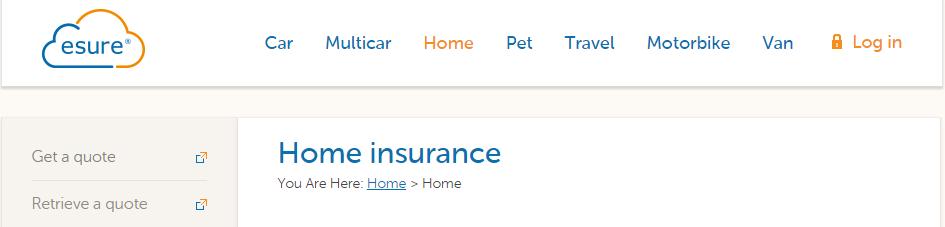 esure Home Insurance homepage