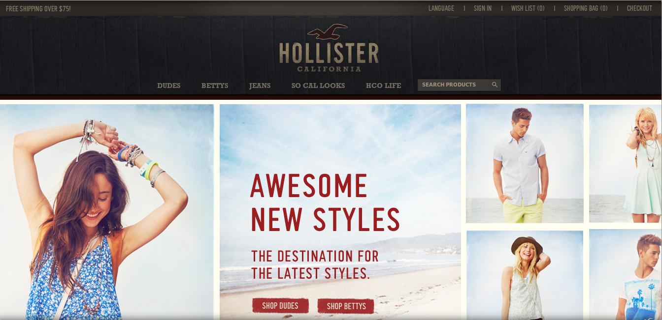 Hollister homepage