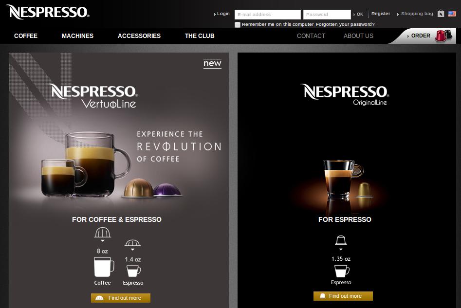 Nespresso homepage