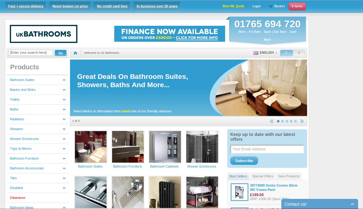 UK Bathrooms homepage